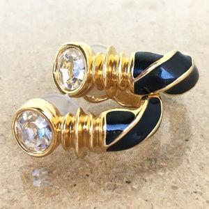 Vtg Swarovski Crystal Black Enamel Pierce Earrings